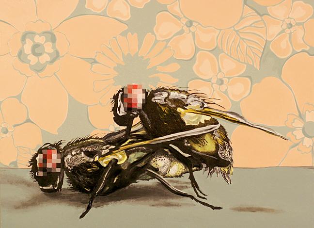"""Death & Disease Copulating: Afternoon Delight #4,"" 2011, 22"" x 18"", Oil paint, metallic/iridescent pigment on panel."
