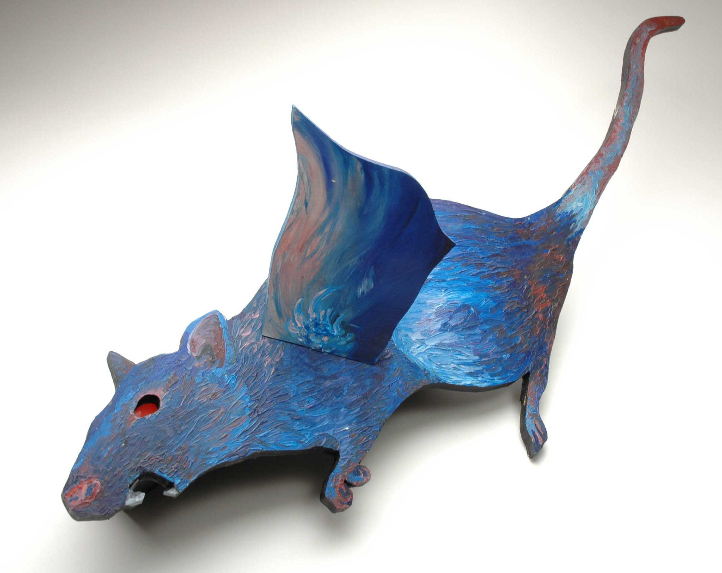 """""""DUD Courier: Flying Rat"""" 3 dimensional: wood, oil paint, light bulb (light up red eye.)"""