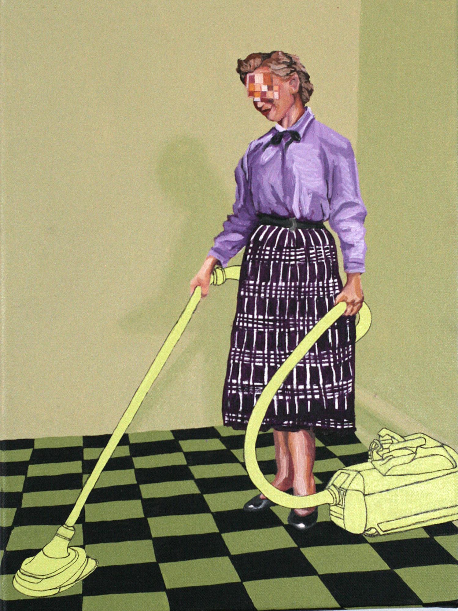 "Domesticide #1, 2012, Oil paint, latex paint on canvas.   12"" x 16"" x 3/4."""