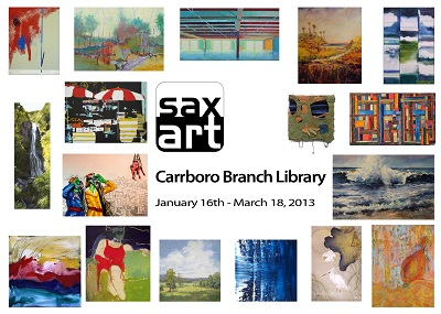 """Cat Manolis' painting """"The German, The Republican & The Elephant In The Room"""" in Carrboro Library Exhibit"""