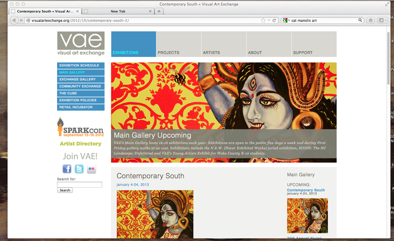 """""""K to the Nth"""" on VAE web site to promote CONTEMPORARY SOUTH Exhibition"""
