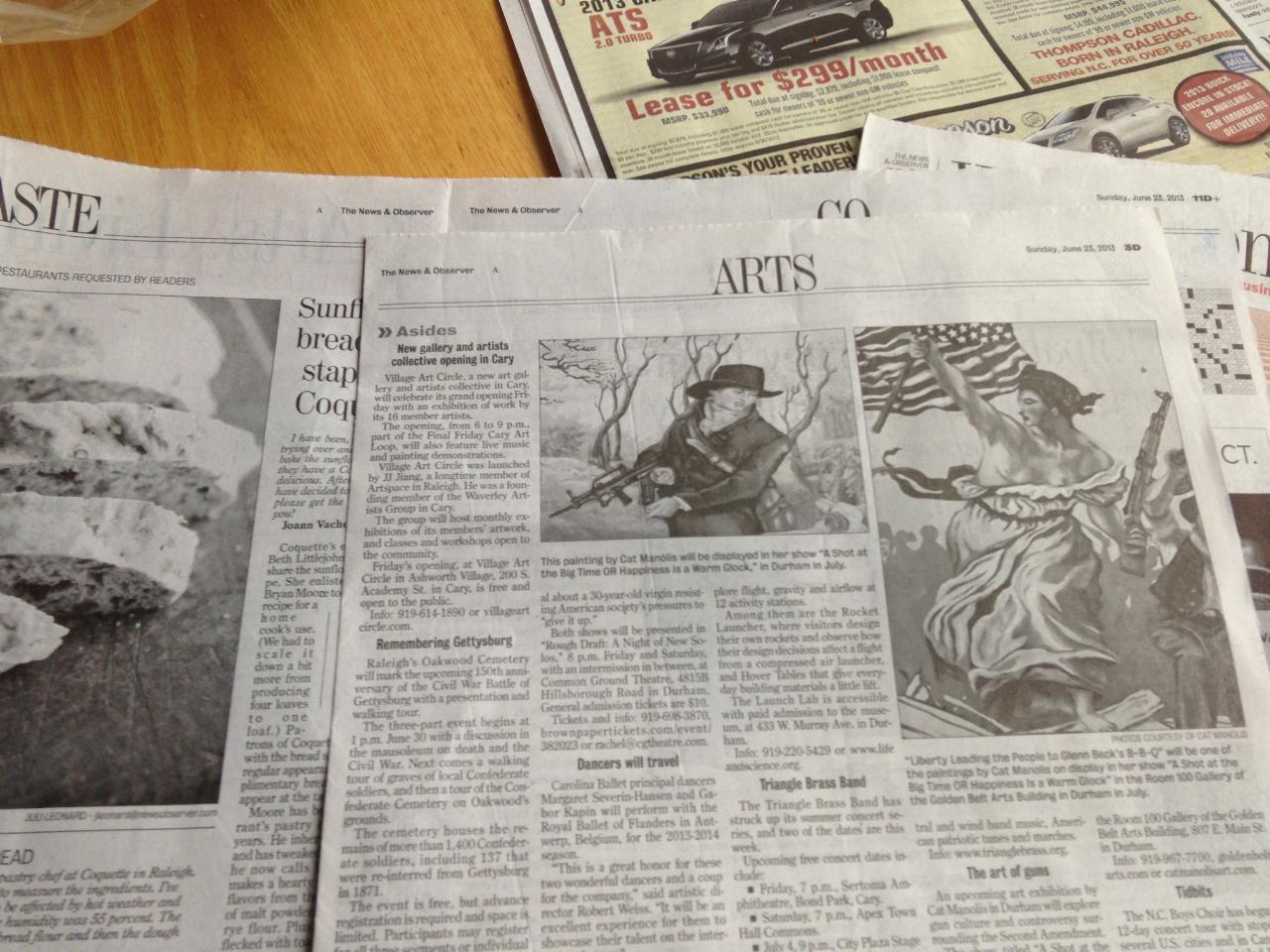PRESS FOR SOLO SHOW in Raleigh's News and Observer newspaper.